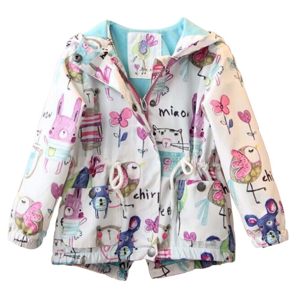 MOUSYA Girls Cartoon Graffiti Print Hooded Drawstring Waist Zippered Jacket Outerwear