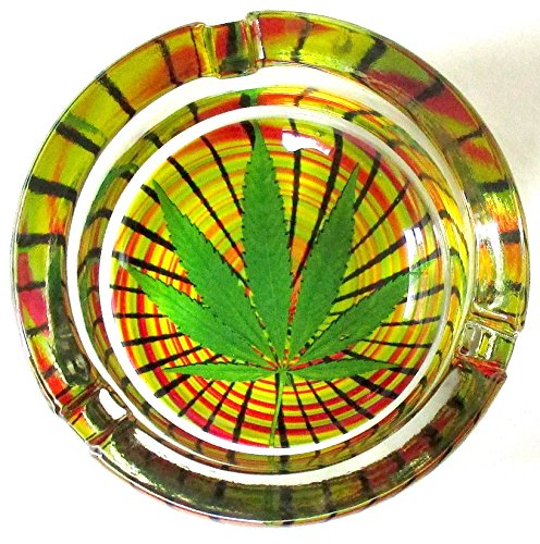 Marijuana-Weed-Swirl-Round-Glass-Ashtray