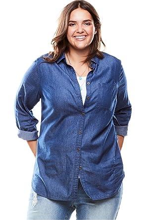 f75b8429b0da7 ... woman within women s plus size flowy denim shirt at women s  blue ...