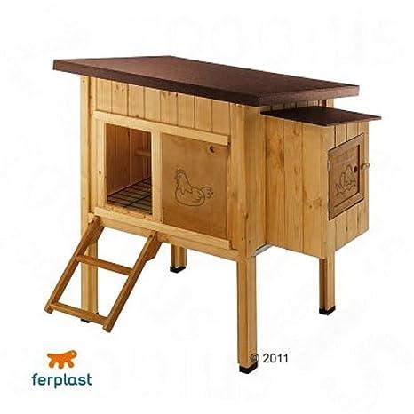Caja de madera para gallinas de pollo y perchas, resistente a la intemperie