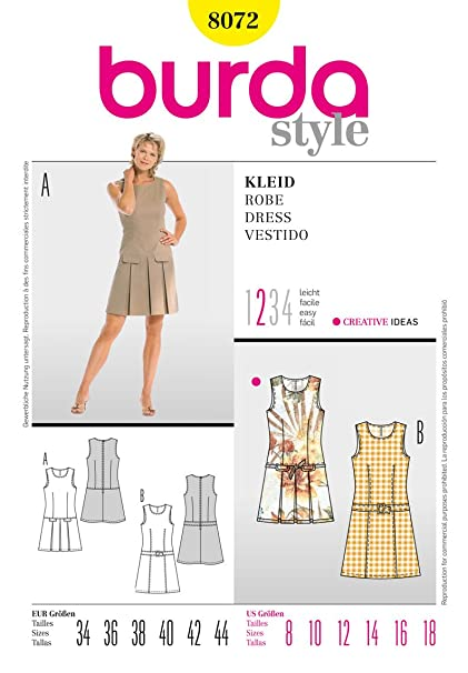 Burda Ladies Sewing Pattern 8072 - Dress Sizes: 8-18