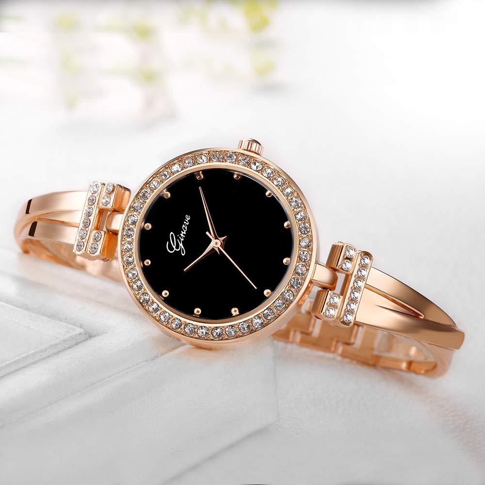 JiaMeng Relojes Pulsera Mujer, Forman el Reloj Redondo del Cuarzo del análogo de la Venda del Acero Inoxidable Relojes para Mujeres(A): Amazon.es: Ropa y ...