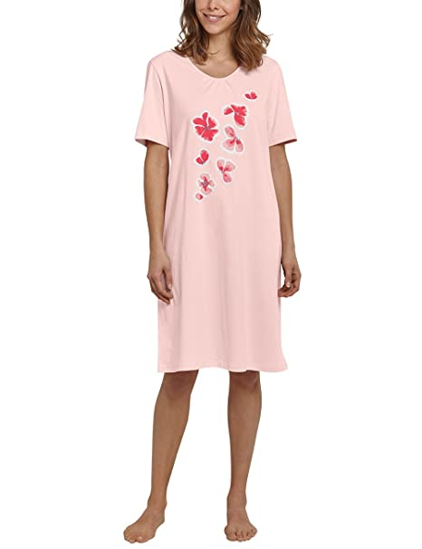 SCHIESSER Damen Nachthemd Sleepshirt 1//2-Arm 100cm Jersey Knopfleiste Baumwolle