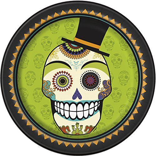[Day of the Dead Halloween Dinner Plates, 8ct] (Day Of The Dead Party Supplies)