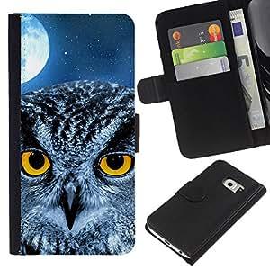 Planetar® Modelo colorido cuero carpeta tirón caso cubierta piel Holster Funda protección Para Samsung Galaxy S6 EDGE (NOT S6) (NOT S6) ( Búho de la luna Noche Ojos Pájaro inteligente School )