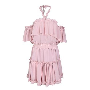 Halter Off Shoulder Ruffle Backless high Waist Chiffon Dress Casual Short Vestidos,Nude Pink,
