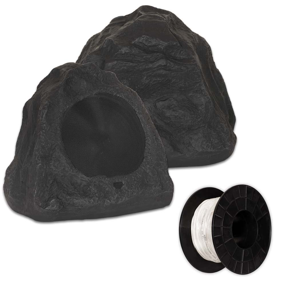 Theater Solutions 2R6L Outdoor Lava 6.5'' Rock 2 Speaker Set with Wire for Yard Pool Spa Garden