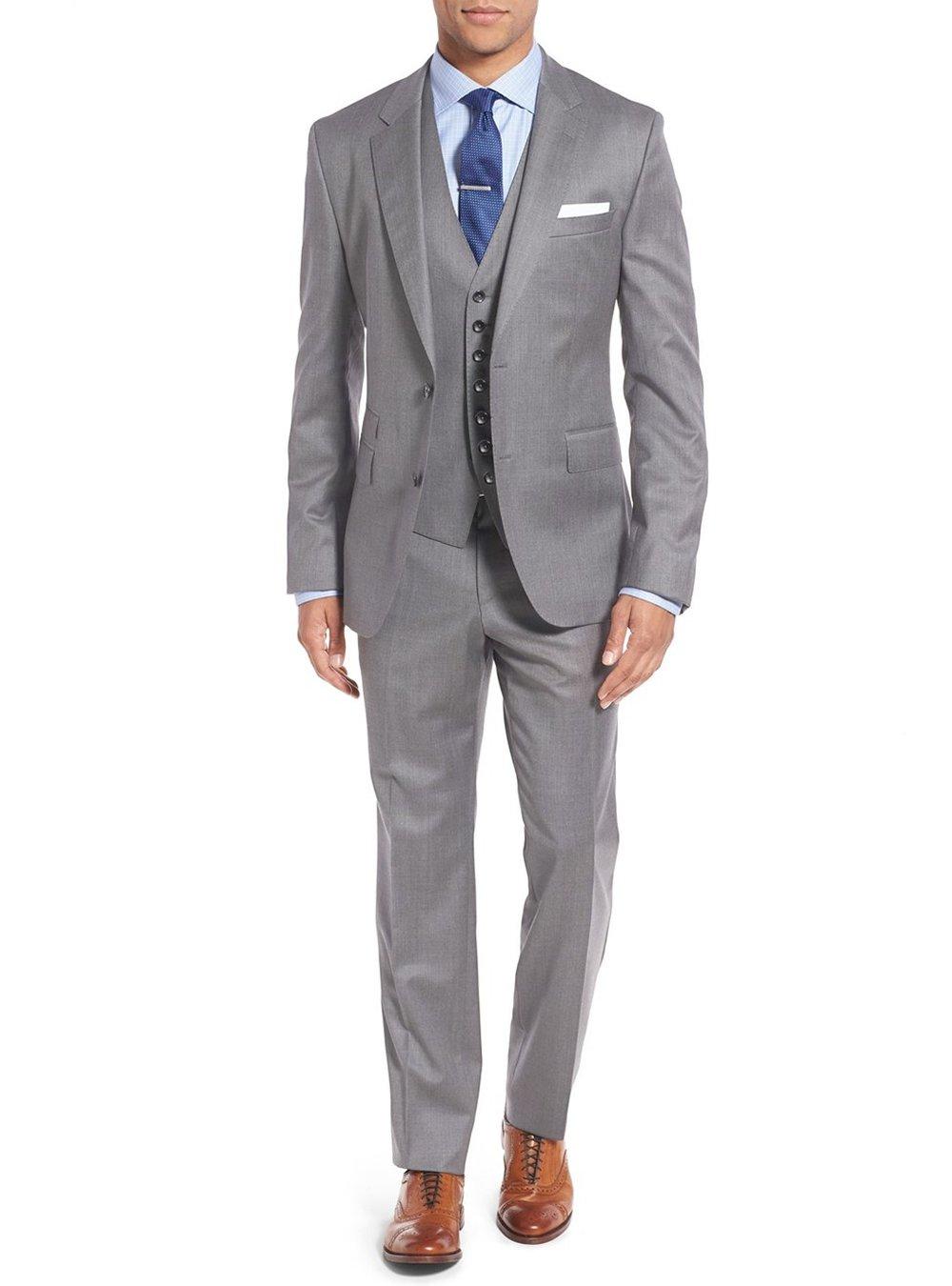Salvatore Exte Men's Suit 3-Piece Two Button Blazer Jacket Flat Front Pants (42 Short US / 52S EU / W 36'', Modern Fit Gray)