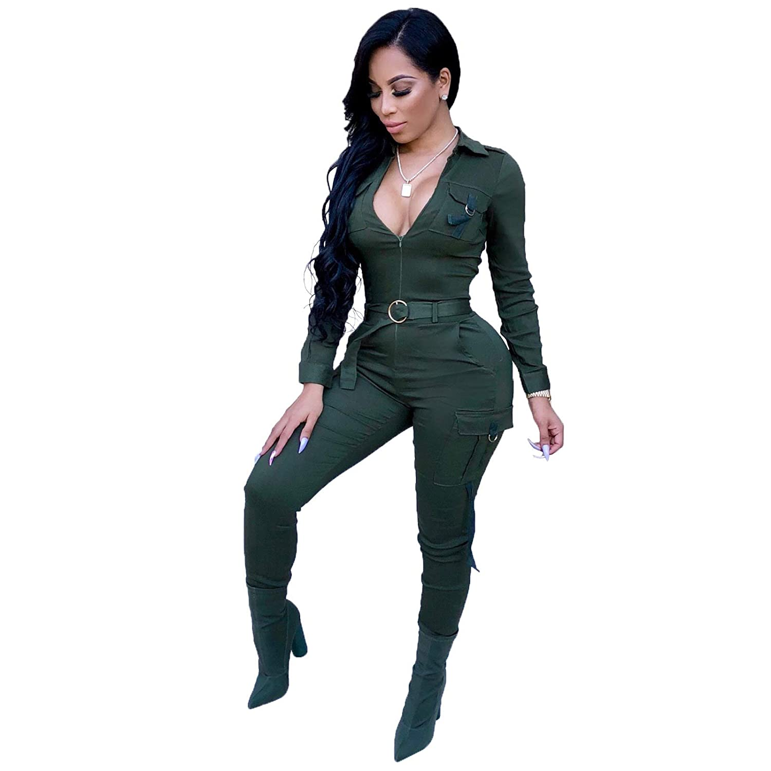 22af3e6c48b Long sleeve bodycon jumpsuits for women party night sexy clubwear solid long  pants rompers plus size