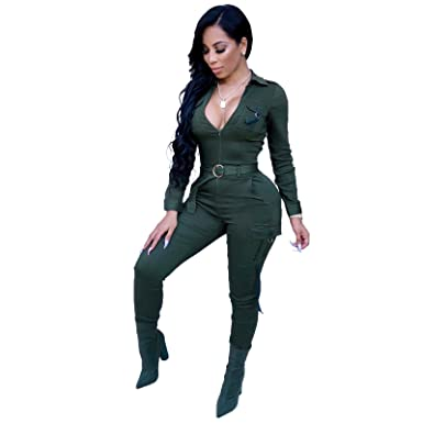 514c064004bb Amazon.com  Long Sleeve Bodycon Jumpsuits for Women Party Night Sexy  Clubwear Solid Long Pants Rompers Plus Size  Clothing
