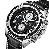 Genuine quartz male watches Genuine Leather watches racing men Students game Run Chronograph Watch male glow hands (Black)