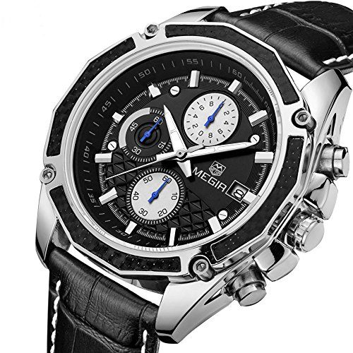 Genuine quartz male watches Genuine Leather watches racing men Students game Run Chronograph Watch male glow hands (Black) (Chronograph Genuine Leather)