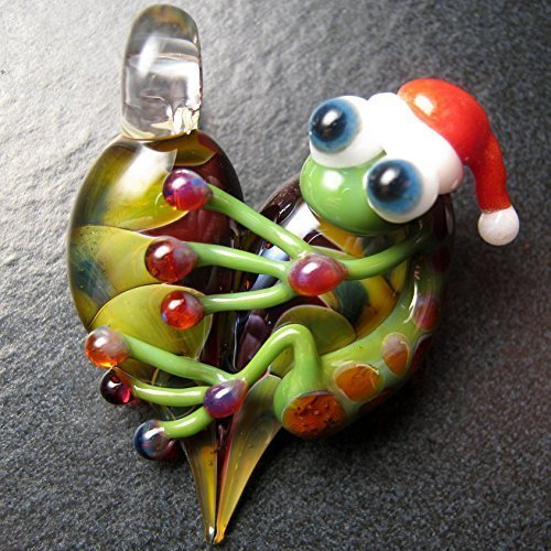 Christmas pendant - Santa frog pendant - Christmas necklace - Glass lampwork pendant focal charm bead necklace - Boomwire Glass jewelry