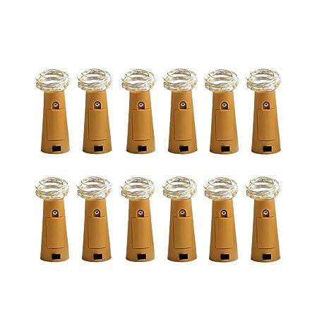 YIGO Tira de luces con forma de corcho, 12 unidades, LED, alambre de