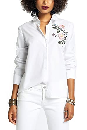 4c02ee8e2a659e Amazon.com: MeshMe Womens Evelyn - Floral Embroidered O-Ring V Neck Back  Button Up Blouse: Clothing