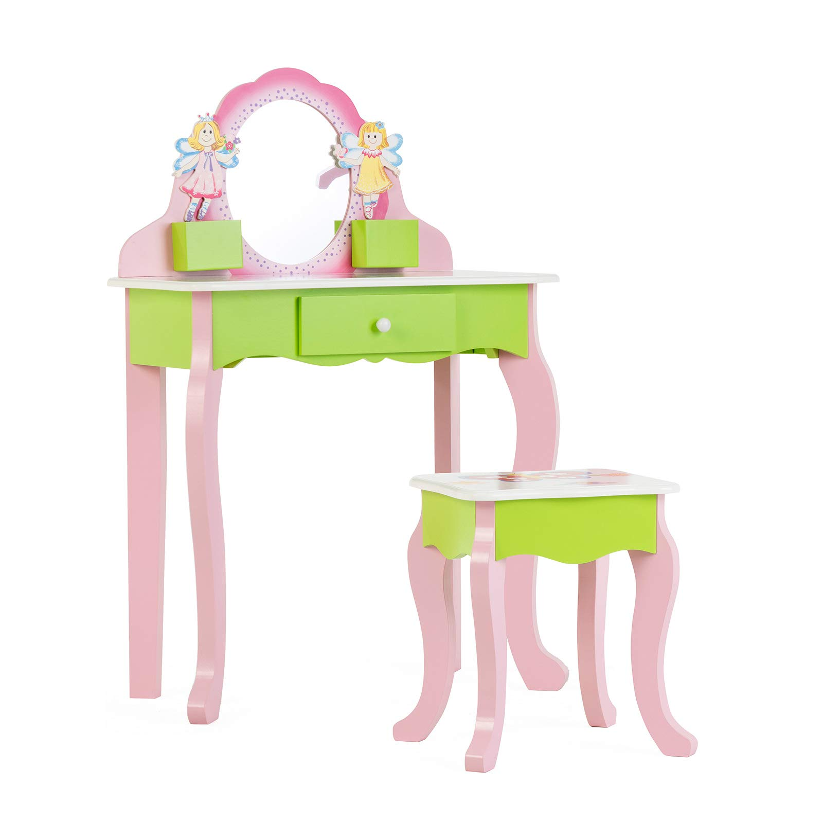 Mecor Little Girls Vanity Table w/Flower Mirror,Kids Makeup Vanity Set with Stool,Non-Toxic Hand Painted Vanity Desk for Children Pink&Green