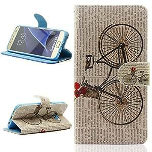 Samsung Galaxy S7 Funda Carcasa, Ougger(TM) Flip Cuero Bolsa Piel Billetera Protector Kickstand Tapa Cover Case Para Galaxy S7 / G930 con Ranura para Tarjeta (Bicicleta)
