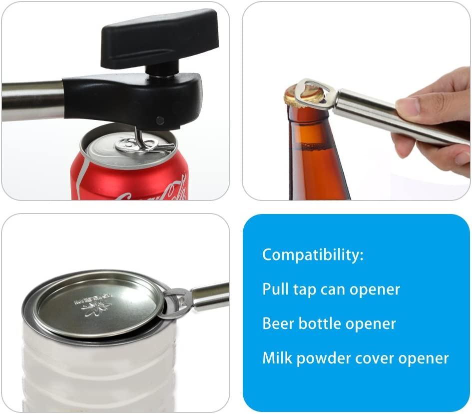Can Opener Beer Bottle Opener 4 in 1 Multifunctional Stainless Steel Anti Slip Smooth Edge Side with Soft Grips Handle Cans Lid Lifter Kitchen Collection Black