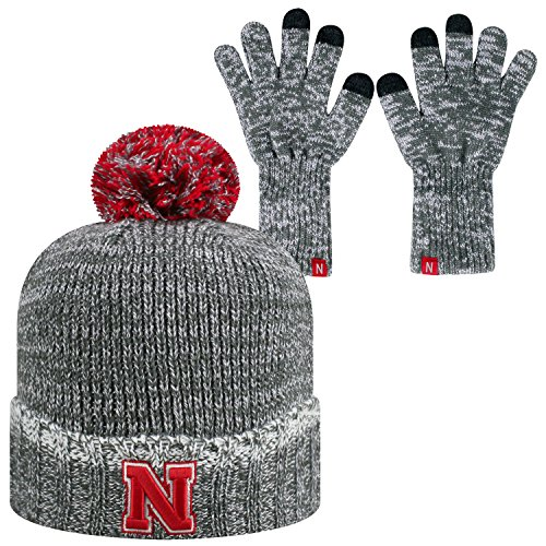 Top of the World Nebraska Cornhuskers Official NCAA Combo Frostbite Cuffed Stocking Stretch Knit Sock Hat Cap Beanie and Gloves 559650