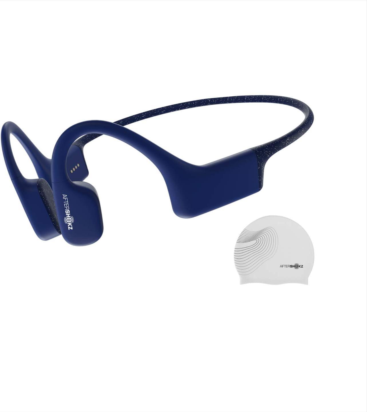 AfterShokz Xtrainerz, Auriculares MP3 de conducción ósea, Ideales para Utilizar en la práctica de la natación, con Memoria de 4GB,Sapphire Blue