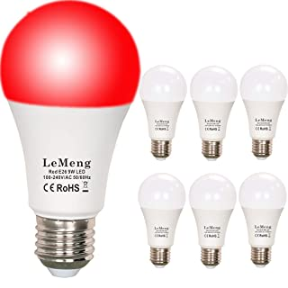 LeMeng Red LED Light Bulbs 9W A19 (60W 75Watt Equivalent), E26 Medium Base Porch Light 120V for Hallway Holiday Party Decoration, Non Dimmable- 6 Pack