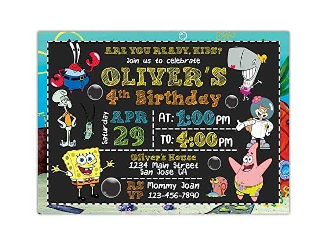 Custom Spongebob Squarepants Birthday Party Invitations For Kids 10pc 60pc 4x6 Or 5x7 Cards With White Envelopes Printed On Premium 265gsm