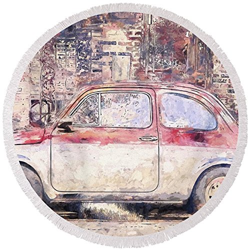 Pixels Round Beach Towel With Tassels featuring ''Vintage Fiat 500'' by Scott Norris by Pixels