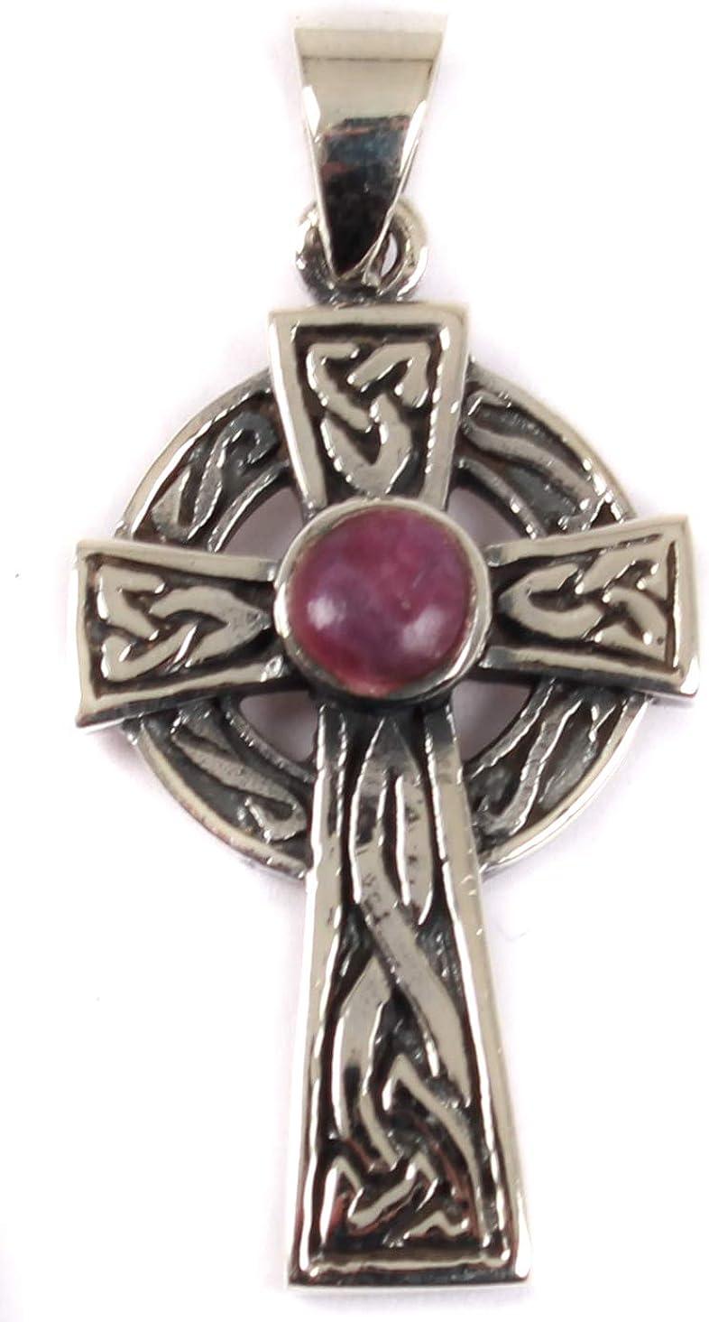 Juego de colgante de cruz de plata con piedra celta morada