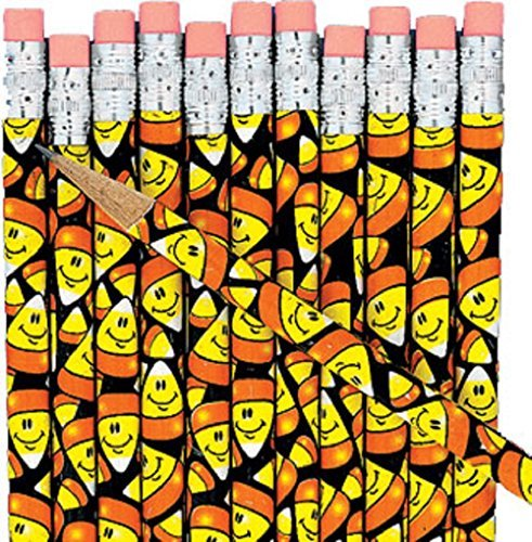 Fun Express - Smile Face Candy Corn Pencils (2dz) for Halloween - Stationery - Pencils - Pencils - Printed - Halloween - 24 -