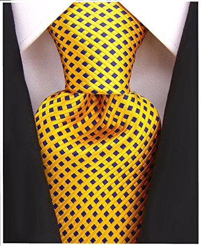 (Diamond Striped Ties for Men - Woven Necktie - Orange Gold)