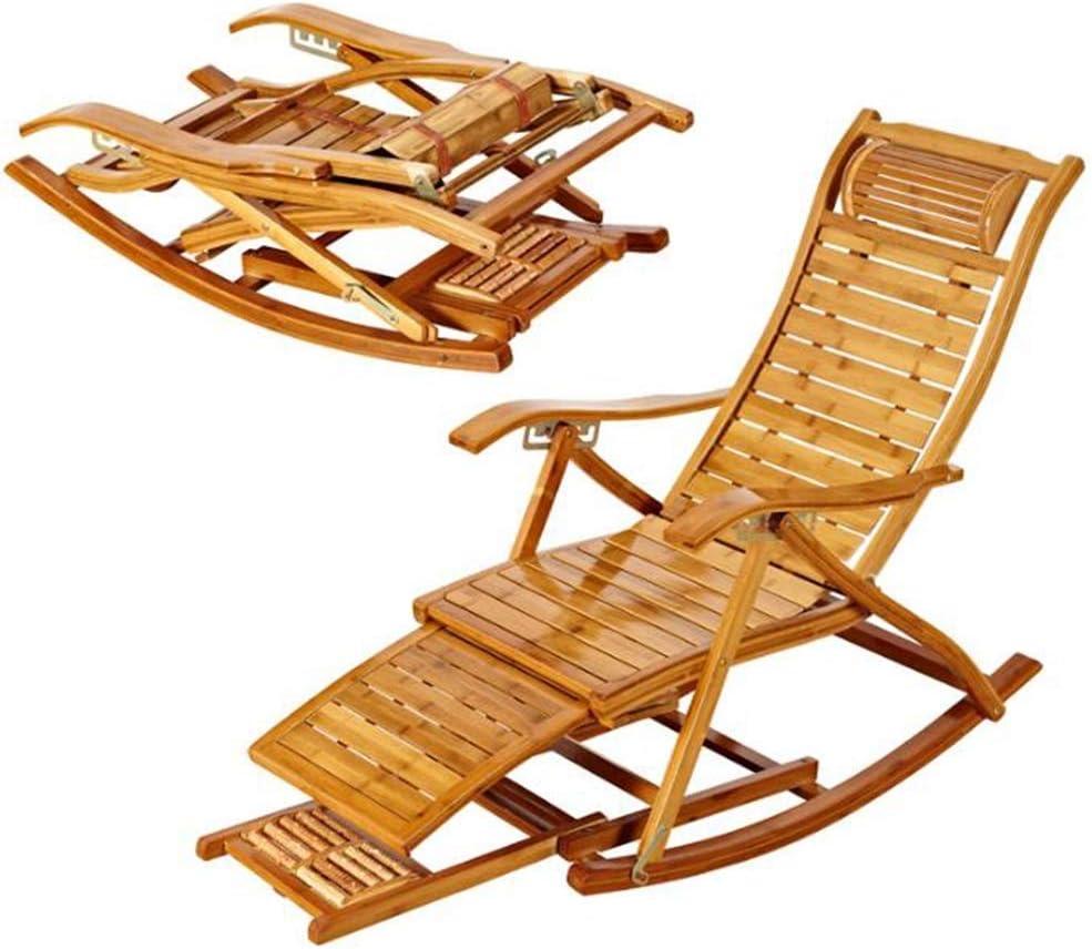 Rocking Chair Armchair Lounging Rocker Deck Relaxing Recliner Lounger Seat Bamboo Indoor Outdoor