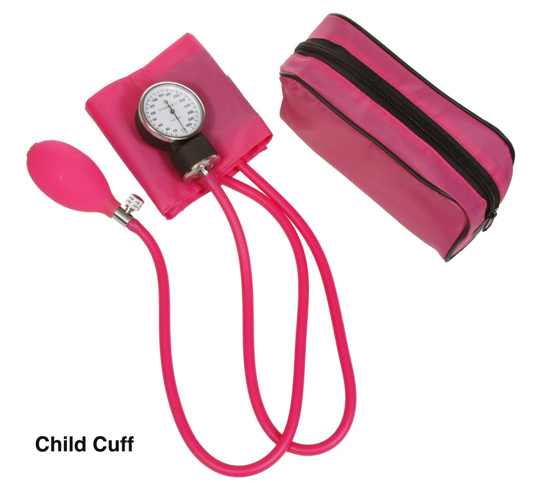 Professional Manual Blood Pressure Cuff – Aneroid Sphygmomanometer with Durable Matching Carrying Case Many Sizes to Choose from (Pink, Pediatric)