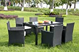 Leisure Zone 7 Pieces Outdoor Dining Set with Glass Top PE Wicker Rattan Patio Garden Furniture Set (Black)