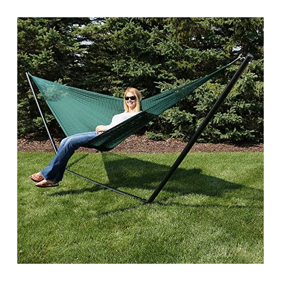Sunnydaze Portable Mayan Hammock Hand-Woven, Family Size, 660 Pound Capacity, Green - Overall Dimensions: 157 inch long x 79 inch wide end-to-end. Bed size: 79 inch wide x 79 inch long. Weight capacity: 660 pounds. Made from 80% Cotton and 20% Nylon so it is soft and durable. Please note that colors may slightly vary on the hammocks due to each being specially hand-woven. - patio-furniture, patio, hammocks - 616audApxpL. SS570  -