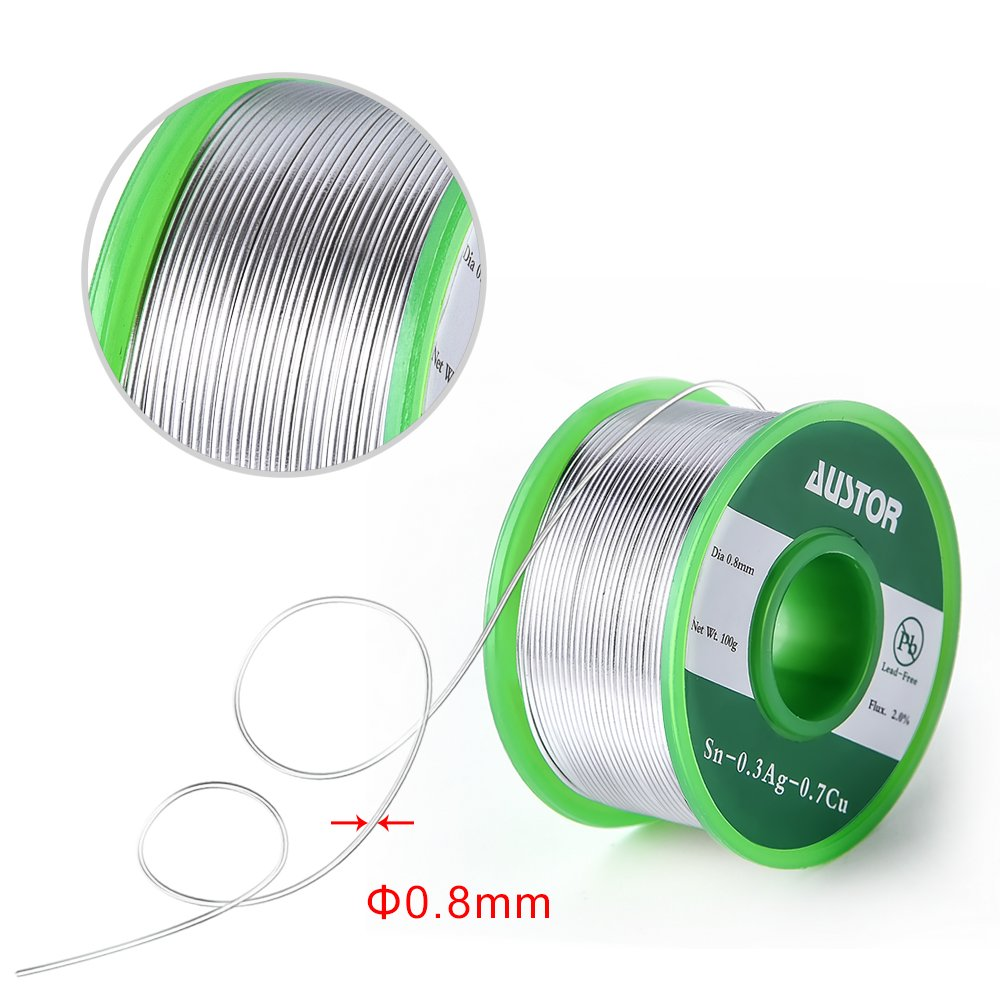 Austor 0.8mm Lead Free Solder Wire with Rosin Core, Sn 99% Ag 0.3 ...