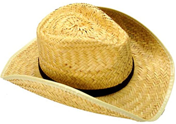 0caf6dc9f91 U.S. Toy Rolled Brim Woven Straw Cowboy Cowgirl Hat Costume Accessory Black