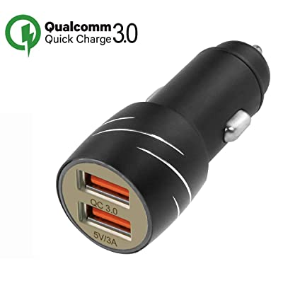 CACACOL QC3.0 Dual USB Car Charger 7.2Amps 36W Quick Charge 3.0 12V1.5A, 9V2A, 5V3A Parallel Working Suit for 12V/24V Car Cigarette Lighter