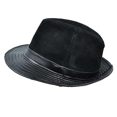 IFSUN Men   Women s Jazz Hat Short Brim Suede Leather Fedora Hat at ... 226648347a1