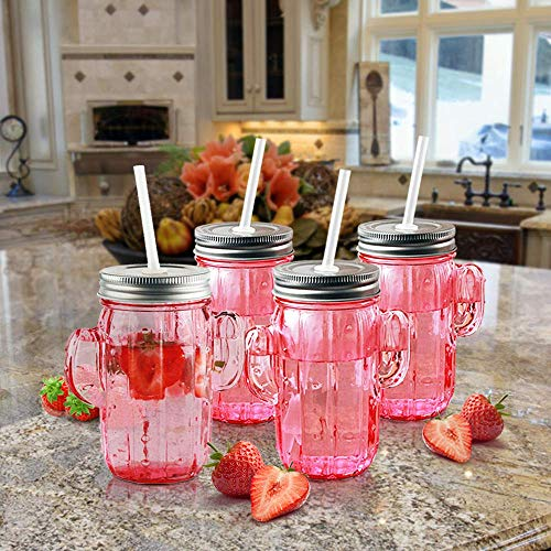 Circleware 06367 Huge Set of 12 Mason Jars Drinking Glasses with Metal Lids and Hard Straws Glassware for Water Beer and Kitchen & Home Decor Bar Dining Beverage Gifts, 15.5 oz, Pink Cactus-12pc by Circleware (Image #4)