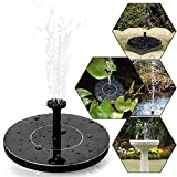 Solar Bird Bath Fountain Pump, Ubegood Bird bath Solar Fountain for Garden and Patio Free Standing 1.4W Solar Panel Kit Water Pump with Different Spay Heads for Pond, Pool and Garden Decoration