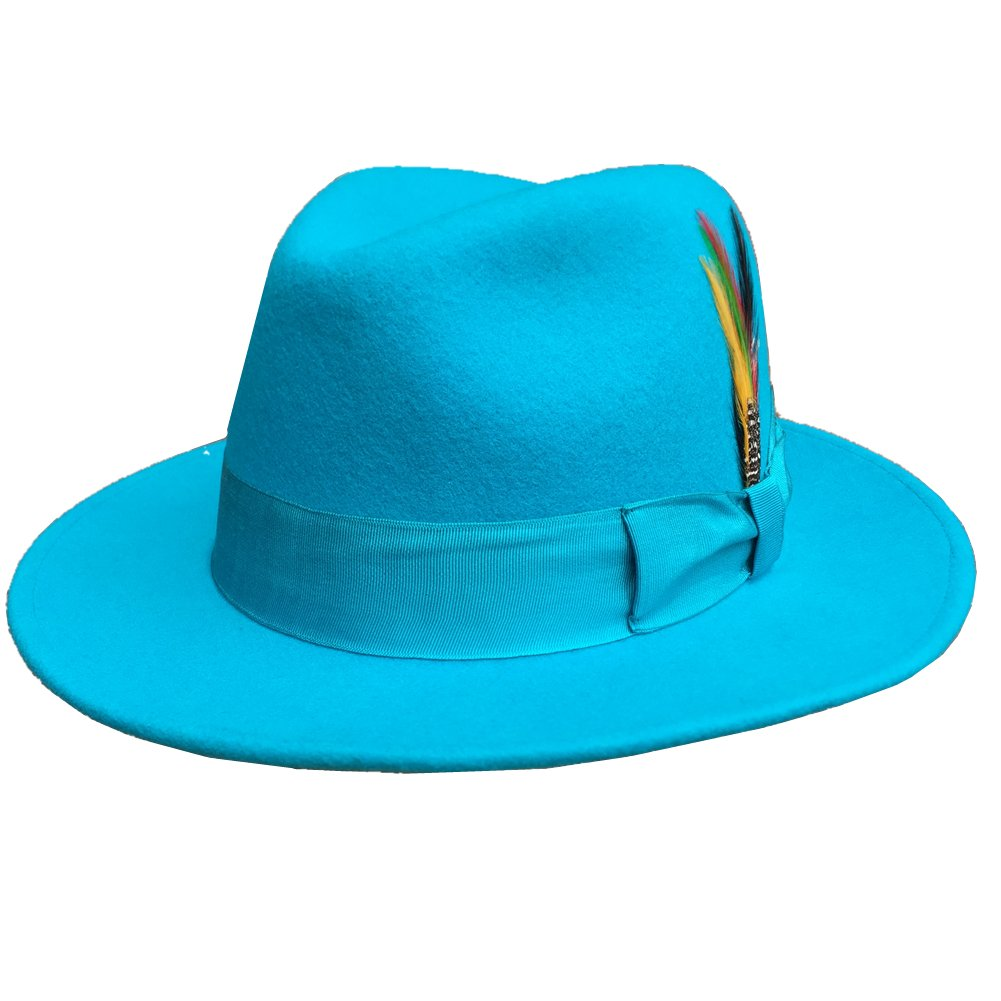 Blue Wool Felt Fedoras Hat For Men or Women (L = 59cm ( 7 3/8))