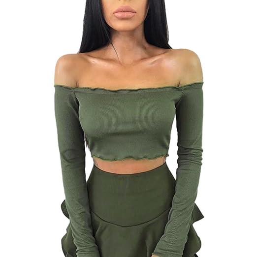 85406b0cd5a Ankola Womens Off Shoulder Crop Tops Long Sleeve Frill Bralette ...