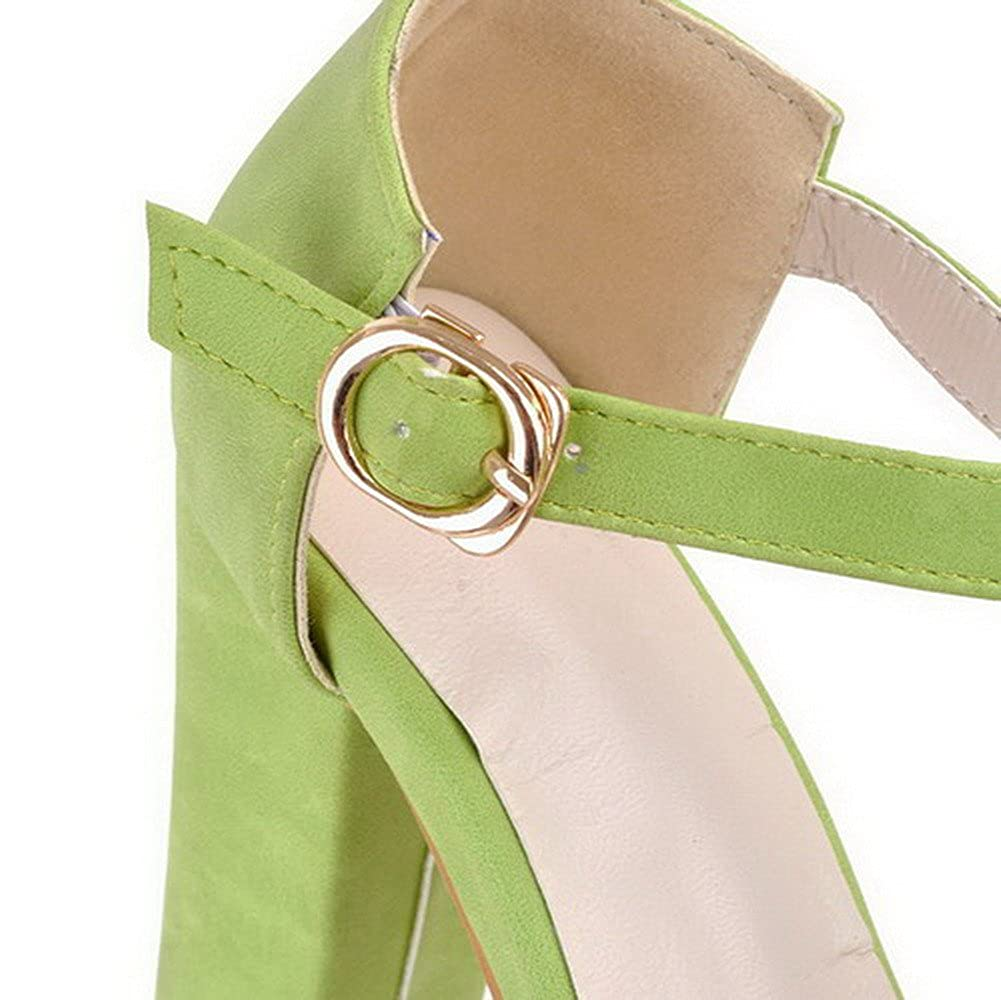 AgooLar Womens High-Heels Solid Buckle PU Peep Toe Sandals