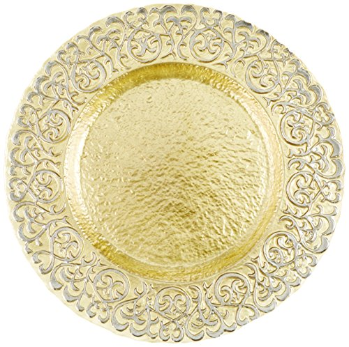 Charge it by Jay Round Baroque Gold and Silver Glass Charger Plate
