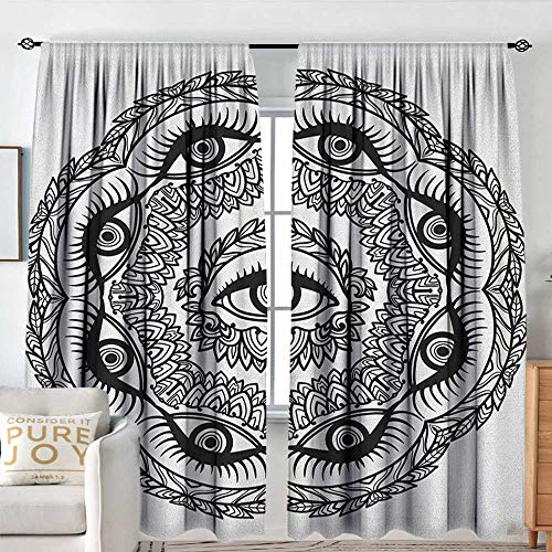 Petpany Window Curtains Occult,Print in Abstract Floral Crown of Leaves Sticks with Eye of Providence Boho Symbol, Black White,for Room Darkening Panels for Living Room, Bedroom -