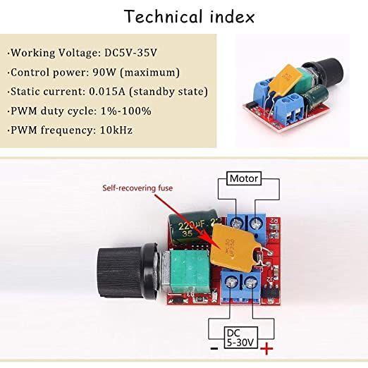 Youmile Pack Of 2 5 A Motor Speed Controller Module Mini Dc Motor Pwm Speed Controller Switch Controller Switch Led Dimmer 3 V 6 V 12 V 24 V 35 V Max