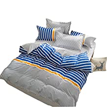 YOUSA 4-Piece Striped Bedding Set Microfiber Bedding for Boys Twin