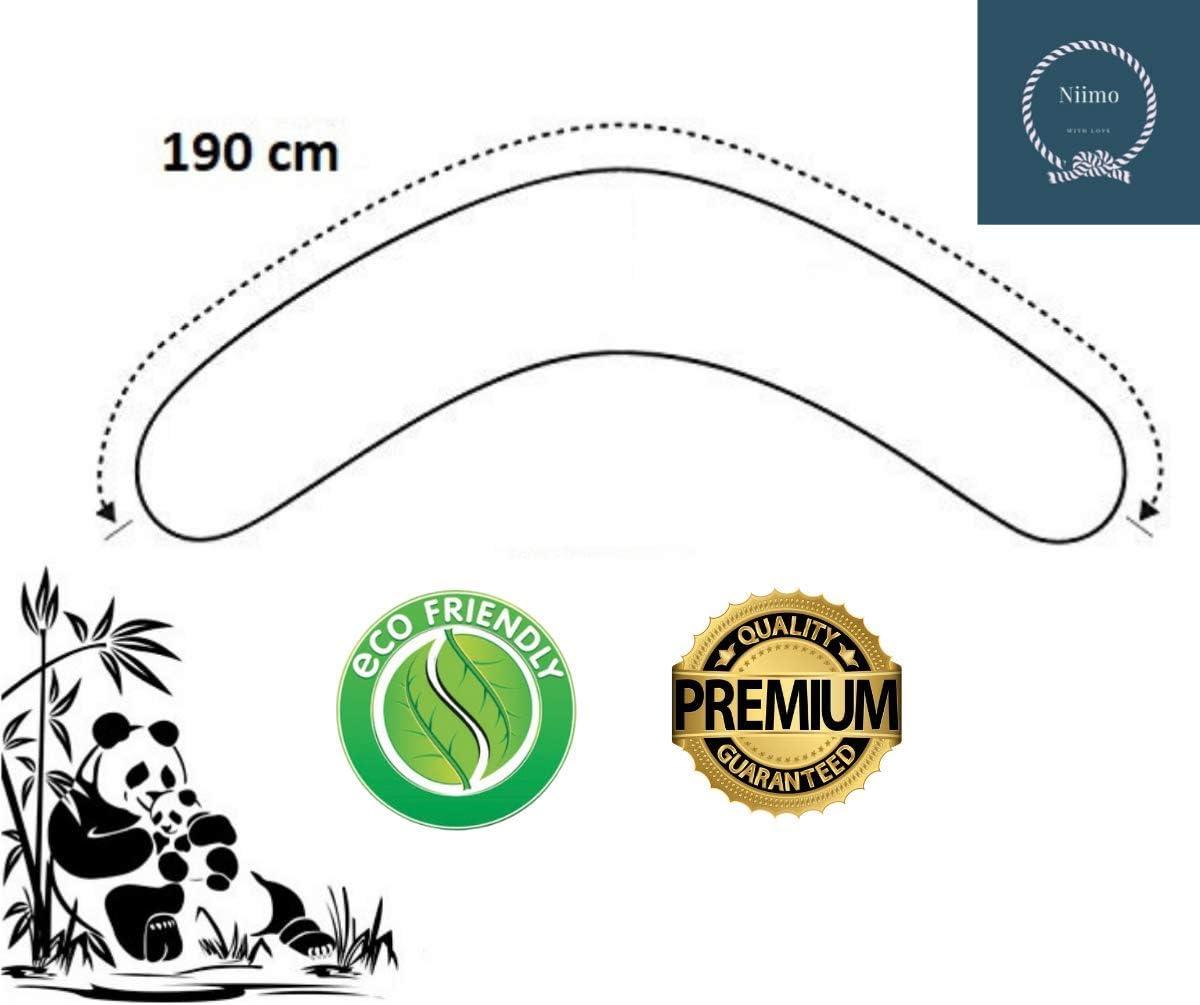 100/% algod/ón Niimo/® Funda de Almohada Embarazo y lactancia removible y lavable