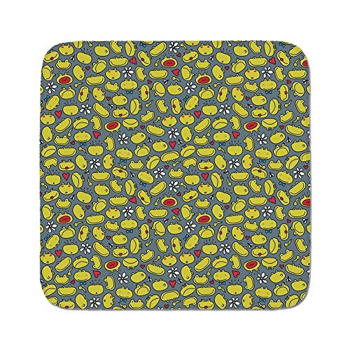 Cozy Seat Protector Pads Cushion Area Rug,Doodle,Cute Frog Faces Various Expressions Happy Sad Surprised Scared Funny Animal,Slate Blue Green,Easy to Use on Any ()