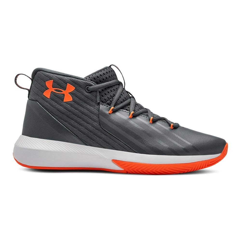 Under Armour Boys' Grade School Launch Basketball Shoe, Pitch Gray (102)/White, 7
